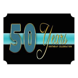"50 YEARS BIRTHDAY PARTY INVITATION AQUA/BLACK 5"" X 7"" INVITATION CARD"