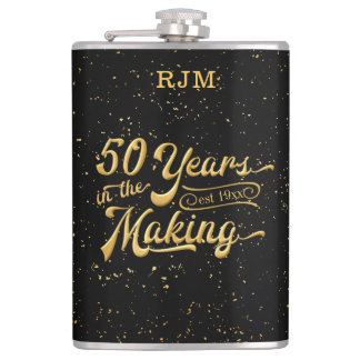 50 Years in the Making, Black & Gold 50th Birthday Hip Flask
