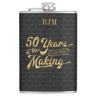 50 Years in the Making, Luxury Black/Gold Birthday Hip Flask