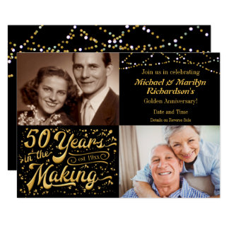 50 Years in the Making Then & Now Anniversary Card