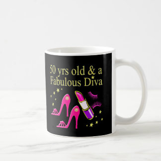 50 YEARS OLD AND A FABULOUS DIVA COFFEE MUG