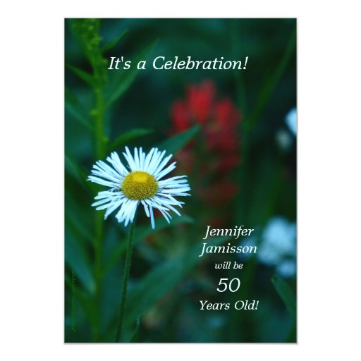 50 Years Old Birthday Party Invites White Flower