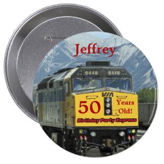 50 Years Old, Railroad Train Birthday Button Pin