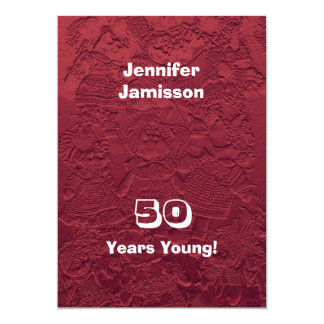 50 Years Young Birthday Party Dolls Invitations