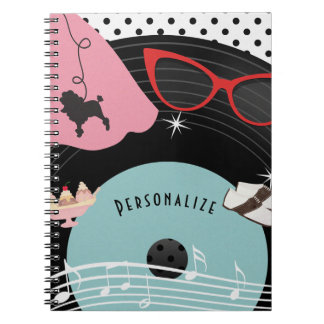 50's 1950's Record Retro Poodle Skirt & Glasses Notebook