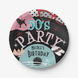 50's 1950's Record Theme Birthday Party Custom 7 Inch Paper Plate