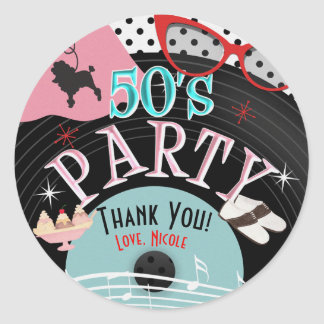 50's 1950's Record Theme Party Custom Favor Classic Round Sticker