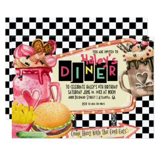 50's Diner Milkshake Party Card