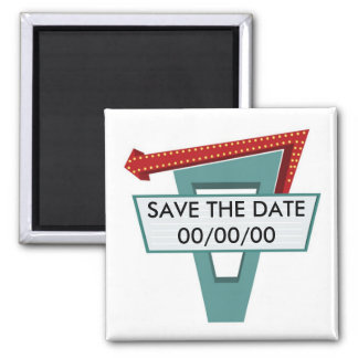 50s Diner Sign 1 Save the Date Square Magnet