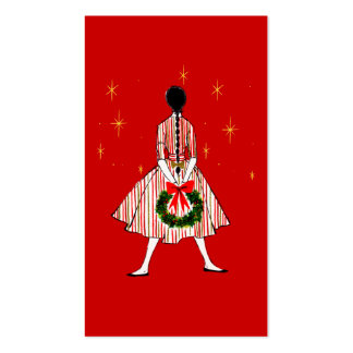 50s Girl Christmas Gift Tags Pack Of Standard Business Cards