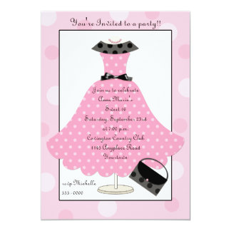 50s Pink Polkadot Dress Birthday Invitation