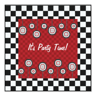 50s Retro Party Checkerboard Diner Decor Card
