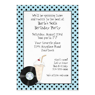 50's Rock and Roll Birthday Invitation