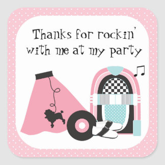 50's Rock and Roll Party Thank You Sticker