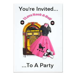 50's Rock & Roll Party Invitation