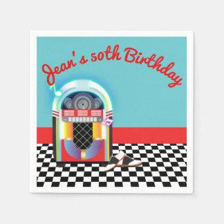 50's Sock Hop Dance Party Jukebox Red Custom Paper Napkins