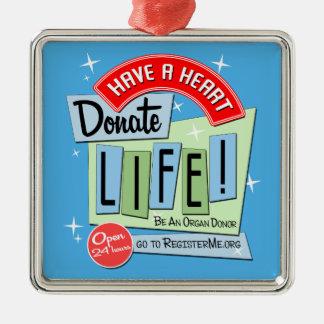 50's-style Retro Donate Life Metal Ornament