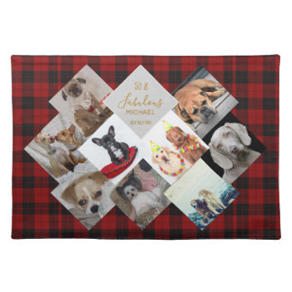 50th 40th 60th Buffalo Plaid PHOTO Collage Named Placemat