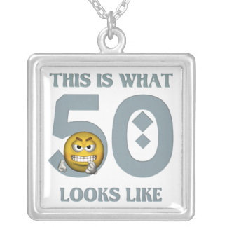 50th Angry Emoticon Birthday Party Necklace