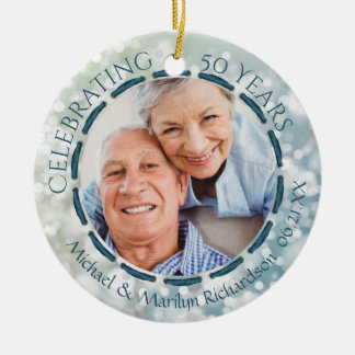50th Anniversary, 2-Sided 2-Photo Teal/Blue/White Ceramic Ornament