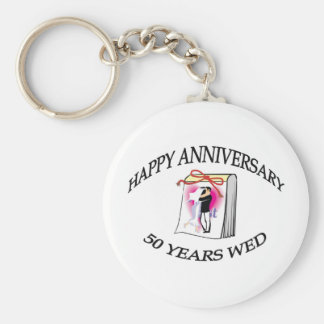 50th. ANNIVERSARY Basic Round Button Key Ring
