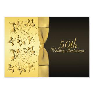 50th Anniversary Black and Gold Floral Invitation