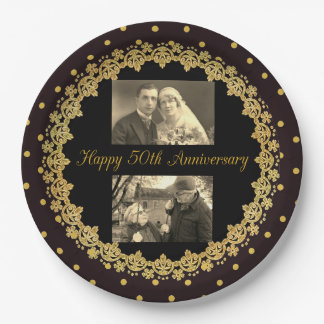 50th Anniversary Black & Gold Personalized Plate