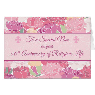 50th Anniversary Catholic Nun Peonies Flowers, Pin Card