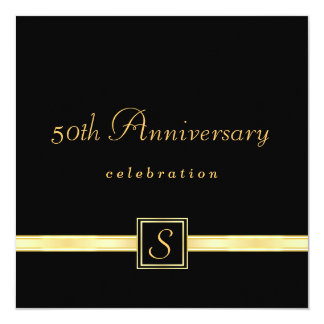 """50th Anniversary - Classic Monogram Invitations 5.25"""" Square Invitation Card"""