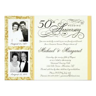 "50th Anniversary Fancy 2 Photo Invitation - Large 6.5"" X 8.75"" Invitation Card"