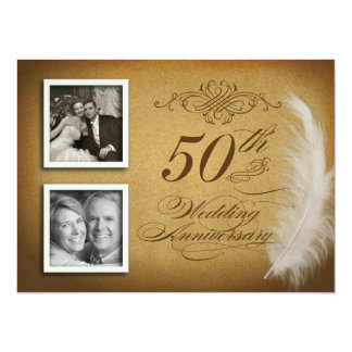 50th Anniversary Fancy Feather 2 Photo Invites