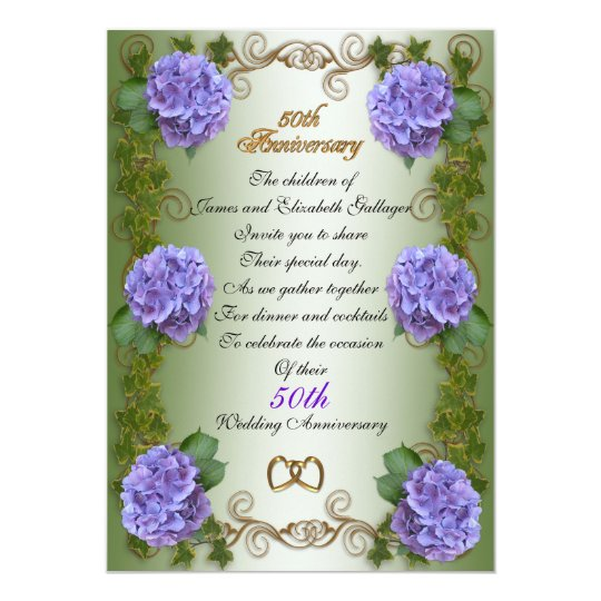 """50th Anniversary""  for parents, hydrangea floral Card"