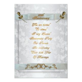 50th Anniversary for parents invitation gold roses