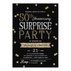 50th Anniversary Glitter Confetti Surprise Party Card