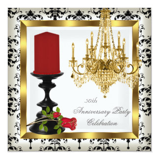 """50th Anniversary Gold Chandelier Red Rose Candle 2 5.25"""" Square Invitation Card"""