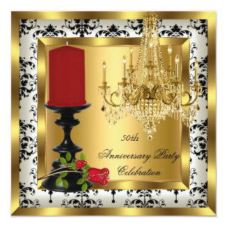 """50th Anniversary Gold Chandelier Red Rose Candle 4 5.25"""" Square Invitation Card"""