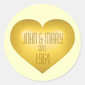 50th Anniversary gold fade heart wine label Round Sticker