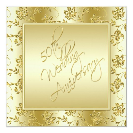 50th Anniversary Gold FAUX Glitter Invitation