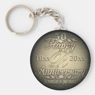 50th Anniversary Gold Keychain