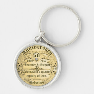50th Anniversary Gold Monogram Silver-Colored Round Key Ring