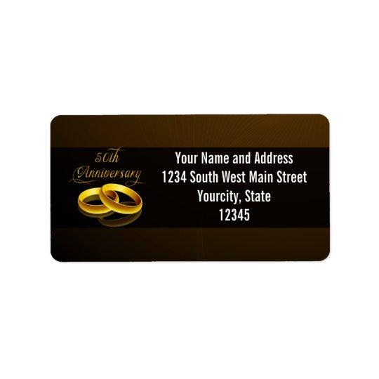 50th Anniversary | Gold Script Address Label