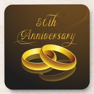 50th Anniversary | Gold Script Coasters