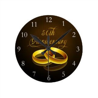 50th Anniversary Gold Script Round Clock