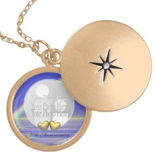 50th Anniversary Golden Hearts (photo frame) Round Locket Necklace