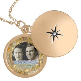 50th Anniversary Golden Photo Frame | Keepsake Locket Necklace