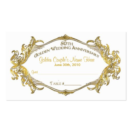 50th anniversary guest table card, Golden Coupl... Business Card Template