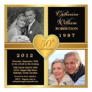 50th Anniversary Heart Stylish Photo Invitations