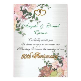 50th anniversary Invitation Watercolor flowers