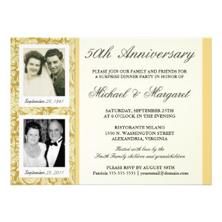 50th Anniversary Invitations - Then Now Photos