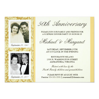 50th Anniversary Invitations - Then & Now Photos